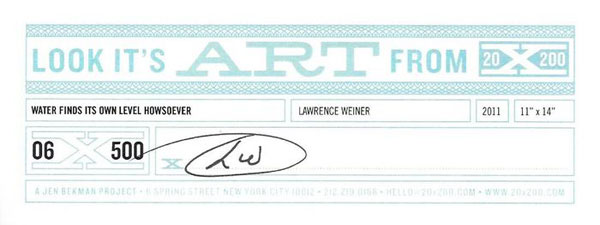 LAWRENCE WEINER - certificate