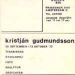 KRISTJÁN GUDMUNDSSON, invitation / announcement Galerie 845, 1972