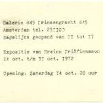 HREINN FRIDFINNSSON, invitation Galerie 845, 1972