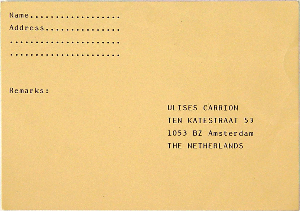 The text on this invitation to get more details reads: 'I'm going to produce an artwork involving people named either Rob (Bob, Robert, Roberto, etc.) or Marta (Martha, Marthe, etc.). Profession, nationality, and place of residence are irrelevant. Please return this card to me if you want further information.'