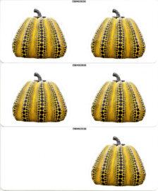 YAYOI KUSAMA, Pumpkin stickers Yellow/Black, glossy, 2019 [3 sheets]