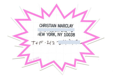 CHRISTIAN MARCLAY, business card, 1996